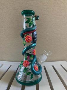 32CM 13 polegadas Mão Pintura Bong Rose Cobra Crânio de vidro Bongs tubulação de 7mm grossos taça Bongs US Shiping