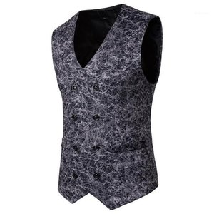 Vests Sleeveless Casual Mens Outerwear With Button Male Clothing Leopard Mens Suit
