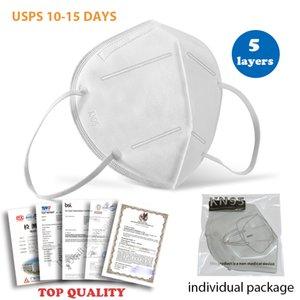 ¡En stock! Mascarilla con la cara de certificación de la calidad del diseñador Máscaras nave de USPS desechables máscara de la alta calidad de 95 máscaras (paquete individual)