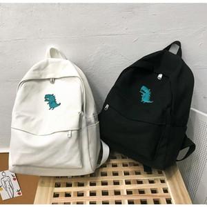 Bayan Kore Stili Tuval Sırt Çantası Moda Kampüsü Çanta Büyük Kapasiteli Küçük Dinozor Baskı Sırt çantaları Kitap Çanta Siyah Beyaz