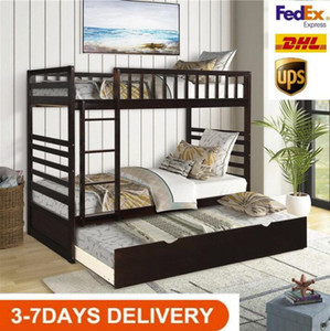 US Stock 2020 Orisfur Twin Over Twin Bunk Bed with Trundle Solid Wood Bunk Bed SG000096PAA
