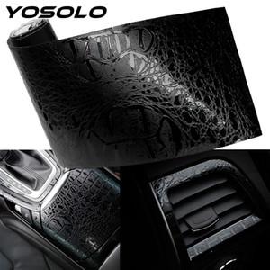 Автомобильный интерьер наклейки наклейки автомобилей Wrap Film Simulation Крокодил Styling кожа Интерьер Декор Decals 150 * 10см