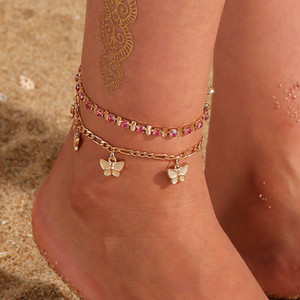 Strass Kristall Knöchel Armbänder für Frauen Sandalen Schmetterling Fußkettchen Boho Strand Fuß Euro Out Ketten Fußklets Weibliche Modeschmuck
