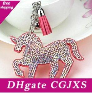 DHLFree 50pcs 6colors mezclada de Bling del cuerno del unicornio de cuero borla clave Llaveros Llavero de la moda de la cadena para las mujeres del bolso del coche colgante de joyería