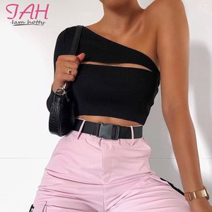 IAMHOTTY One Shoulder Top Hollow Out Womens T Shirt Tops Backless Sexy Negro Long Sleeve T-Shirt Femme Asymmetrical Club Tshirt 200925