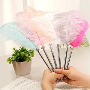 1PCS Feather Ballpoint Pen Ostrich Plush Cute 6 Color Office Signature Metal Pens Romantic Stationery Gift Office Supplies