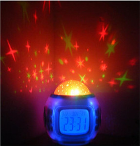 Mini Color Changing Digital LED alarm clock Colorful natural sound Wake Up Light bedside Round Thermometer Electronic Desk calendar by UPS
