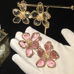 S925 Silber needleglass Blume und Ohrringe übertrieben Atmosphäre Super-Fee rosa Mädchen Herz Temperament Trendsetter Ohrringe