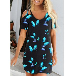 Femmes bretelles papillon robe d'été à manches courtes col en V robes noires Famale Vêtements de loisirs