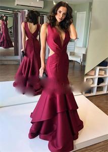 Burgundy Mermaid Long Prom Dresses 2021 V Neck Backless Formal Vestido De Festa Evening Dress Party For Women
