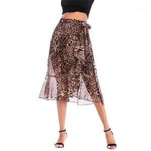 High Waist Lace Up Casual Skirt Leopard Print Midi Designer Skirt Womens Summer Chiffon Print Skirt Fashion