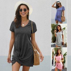 Mulheres elegante casual praia vestido puro cor de manga curta confortável roupas longas uma linha vestido sexy para tops femininos