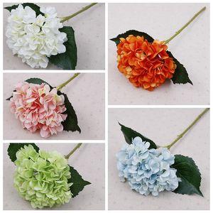 Fontes do partido Falso Artificial Hydrangea da cabeça de flor 45 centímetros de seda único real toque Hortênsias 8 cores do casamento Home Decor Flores DBC BH4012
