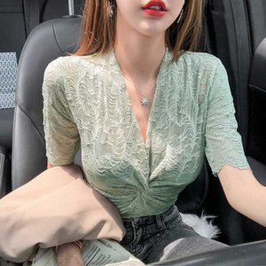 Women Cross Criss V-neck Lace Blouses Shirts Female Short Sleeve Chic Hollow Out Solid Elasticity Tops Blouses Girls 2020 Summer