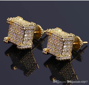 Fashion Screw back CZ Earrings Stud Men Brand Designer Luxury Hiphop Full Rhinestone Jewelry Gold Silver Copper Pierced Ear Stud Jewelry
