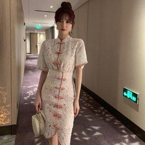 Costume Suit cheongsam dentelle jupe cheongsam 2020 dentelle d'été style chinois améliorée jupe couverte cheongsamhip trois pièces Ens 7513