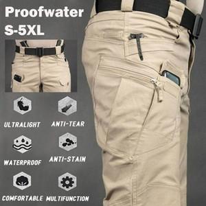 Los hombres ocasionales de los pantalones del cargo de bolsillo elástico al aire libre Senderismo Trekking ejército táctico pantalón de camuflaje Pantalones multi S-6XL