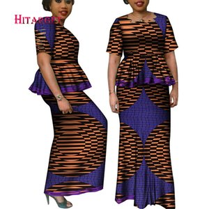 African Printed Skirt Suit for Party WeddingTraditional Clothing Top Blouse+Long Pencil Skirt Bazin 2pcs Clothes Sets WY6415