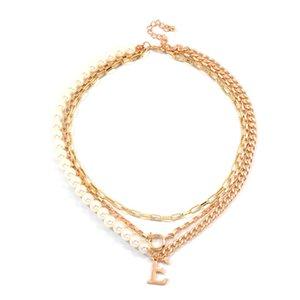 Metal tabakalı Zincir Kadınlar İnci Kolye Altın Renk Takı Hediyeler için kolye Letter E Pandantifler Kolye