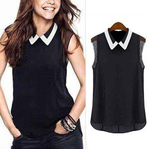 Women Turn Down Collar Loose Sleeveless Vest Summer Pactwork White Black Tops Office fz0675