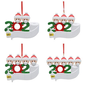 hot Christmas Blessing words DIY Greeting 2020 Snowman With Mask Snowman Christmas Tree Pendant Survivor Family T2I51535