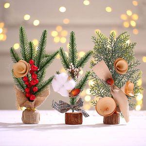 Decorazione albero di Natale creativo mini piccola decorazione dell'albero tavolo Atmosfera decorazioni Simulazione regalo dell'albero di Natale