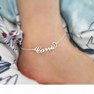 Stainless Steel Custom Name Anklet Persoanlized Nameplate Leg Chain Ankle bracelet Cheville Silver Color Synoke Boho Jewelry