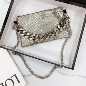 bolso de hombro oblicuo Mini diseño creativo 2020 nuevo de metal de plata gruesa cadena hombro lentejuelas bolsa oblicua moda