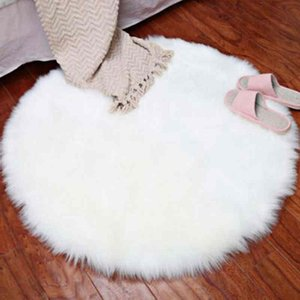 New Soft Faux Fur Wool Living Room Sofa Carpet Plush Bedroom Cover Mattress Xmas Door Window Round Rugs Carpets Decoration