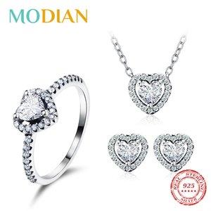 Modian 925 Наборы сердца стерлингового серебра Мода для женщин Шарм серьги Роскошные свадебные ожерелья Обручальное Statement ювелирные изделия