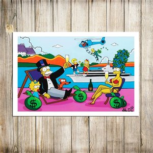 Alec Monopoly The Simpsons on Vacation , Canvas Pieces Home Decor HD Printed Modern Art Painting on Canvas (Unframed Framed)