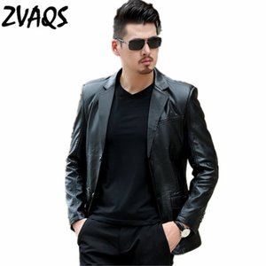 Jaqueta de couro Homens 2020 Primavera e Outono Jaqueta de Couro Masculina preta fina Moda Casual Masculino Leather Jacket ZVAQS XT219