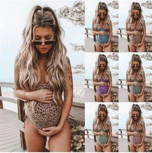 Kadınlar Hamile Mayo Leopard Baskı Bikini Mayo Mayo Plaj Mayo Beachwear Yaz Hamile Anne Giyim
