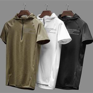 Mens Sport Hooded Vest Débardeurs Fitness Course de formation en vrac Hauts Coton Sweat et absorption Ventilation