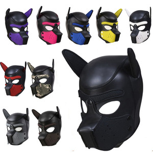 10 Color Sexy Cosplay Role Play Dog Full Head Mask Soft Padded Latex Rubber Puppy BDSM Bondage Hood Sex Toys for Women Y200616