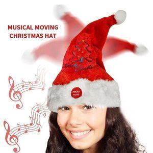 Electric Santa Hat Music Swing Cartoon Red Plush Hat Christmas Party Cap GHS99