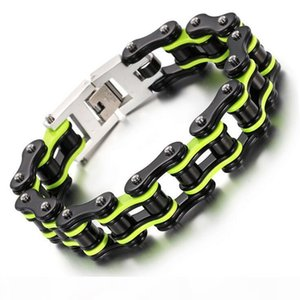 Black Green Orange Silver Blue Men Bike Chain Bracelet Stainless Steel Biker Bicycle Motorcycle Link Chain Punk Heavy Jewelry Dropshiping