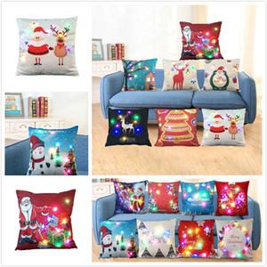 LED leuchtende Weihnachts Pillowcase Weihnachts Cotton Sofa Auto Kissen steuern Dekoration Weihnachtskissenbezüge Dekorative Leinen / Baumwolle Stuhl