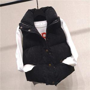 Cappotti signore Button con cerniera e tasche 20fw Womens cotone Vest stand colletto senza maniche Womens Outerwear