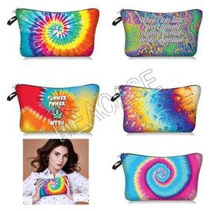 Mulheres Moda Maquiagem Cosmetic Bag Tie-dye Letras Bolsas Clutch Bag Sacos de mão Bolsa de Senhoras de armazenamento de Higiene Pessoal saco do bolso Coin Bolsas D81208