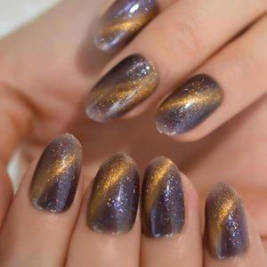 Falsche Nägel Himmel Bling Gefälschte Galaxie Schimmer Glitter Gel Handgemalte Nagelkunst Tipps Oval Rund Medium Press Fingernägel 24