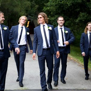 Dark Blue Groomsmen Wedding Tuxedos One Button Mens Groom Suits Notched Lapel Slim Fit Prom Party Blazer Jacket(jacket+pants)
