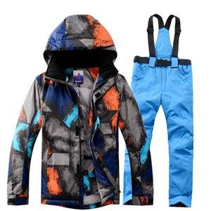 Kış Ceket + Pantolon Snowboard Erkekler Su geçirmez Windproof Tırmanışı Termal Kar Açık Dağcılık Coat Erkek Büyük Beden
