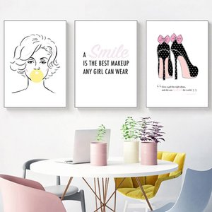 Pink lipstick woman high heels fashion poster inspirational print canvas art painting wall picture modern girl room home decoration