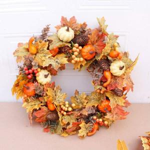 NEW Artificial Pumpkin Maple Wreath Autumn Festival Wreath Door Hanging Home Decor Halloween Thanksgiving Ornament Decorations