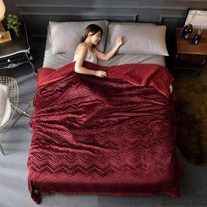 J3 Red bedspread blanket 200x230cm High Density Super Soft Flannel Blanket to on for the sofa Bed Car Portable