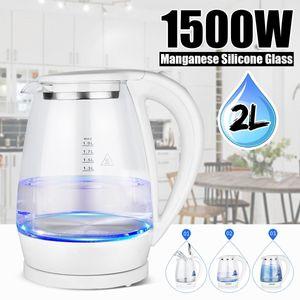 cgjxs 1500W Portable électrique 2 litres Bleu Led Illumination Eau chaude Thé verre Bouilloire rapide Chauffe-Chaudière Pot 220v T190619