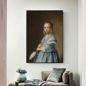 Portrait Of A Girl Dressed In Blue Canvas Art Wall Paintings By Johannes Dutch Golden Age Art Prints For Living Room