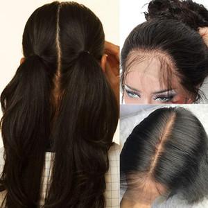 100% Brésilien Human Hair Perruques pleines de dentelle gluante longue perruque de dentelle droite avec des cheveux de bébé prépuré pour femmes noires