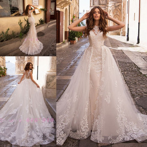 Charming Mermaid Wedding Dresses with Removable Train Beading Crystal 2020 China Lace Appliques Vestido De Noiva Sereia Bridal Gowns
